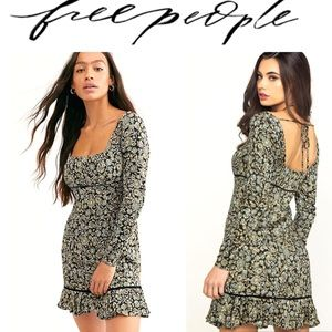 Free People Dress Mini Boheme Black Combo